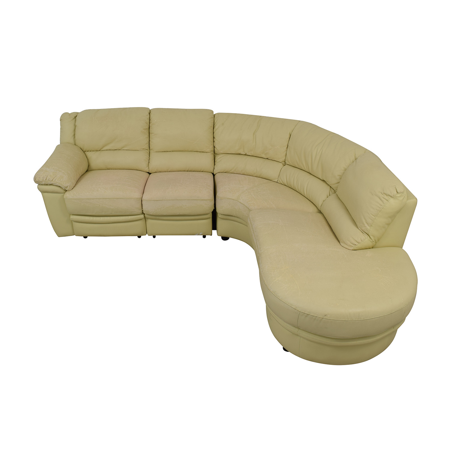 Beige L-Shaped One Reclining Chair Sectional nyc