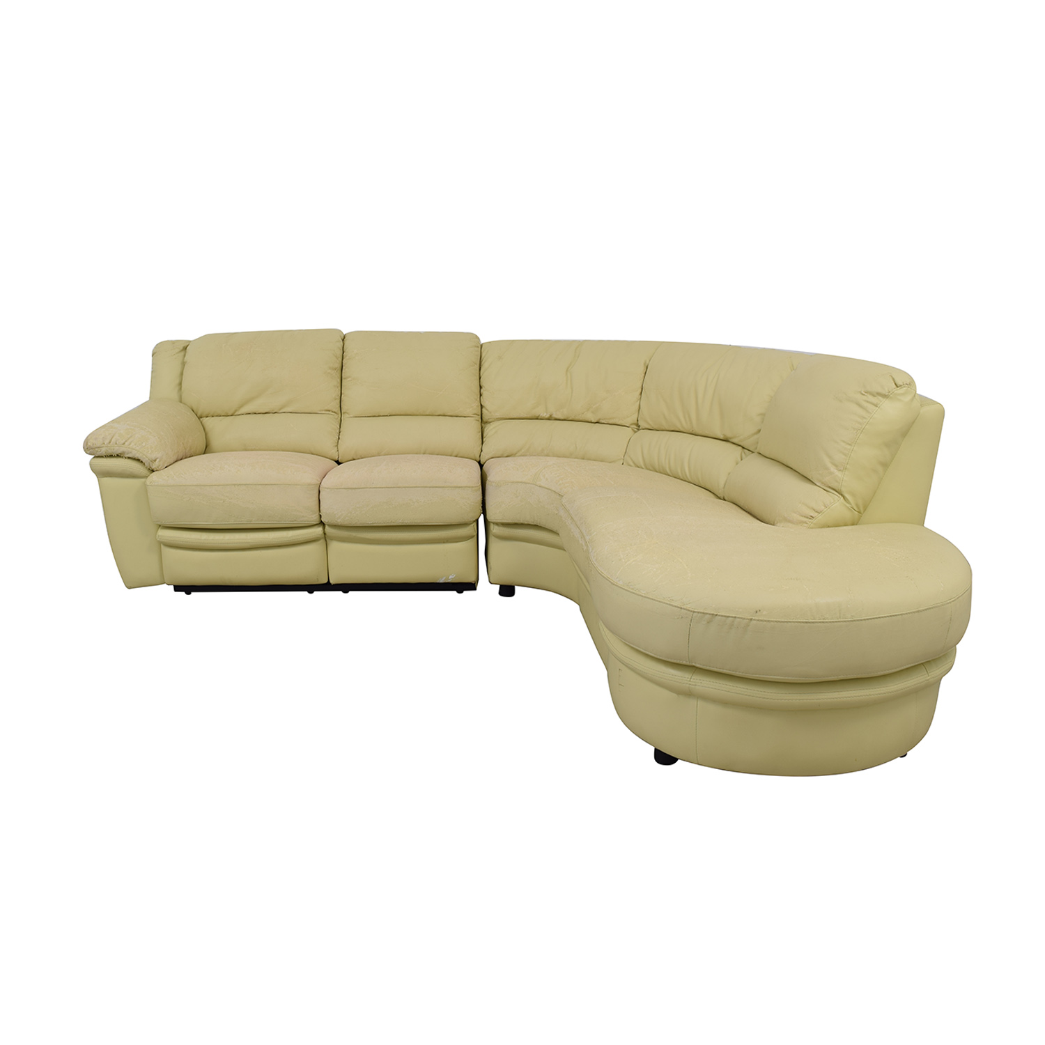 Beige L-Shaped One Reclining Chair Sectional Sofas