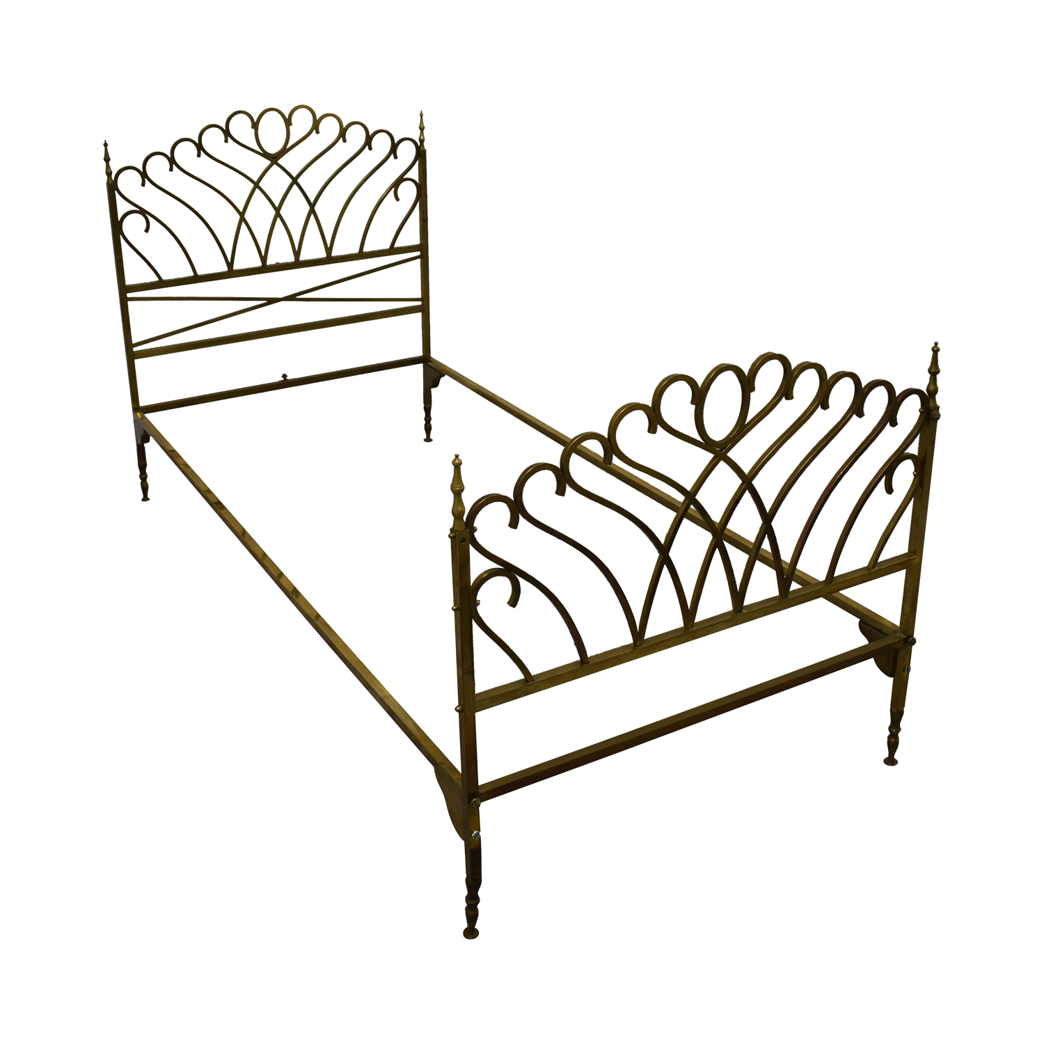 54 Off Scrolled Brass Twin Bed Frame Beds
