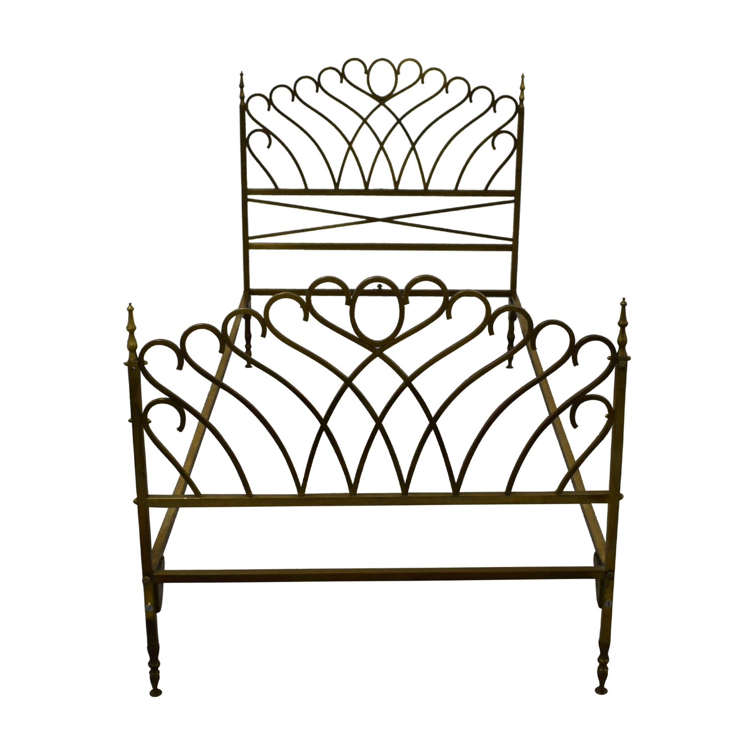 Scrolled Brass Twin Bed Frame second hand