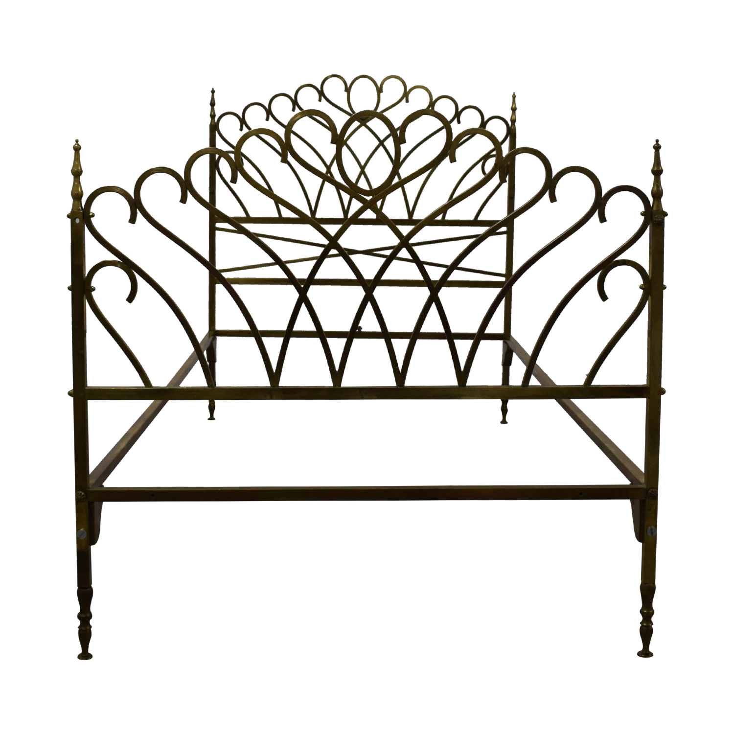 shop Scrolled Brass Twin Bed Frame