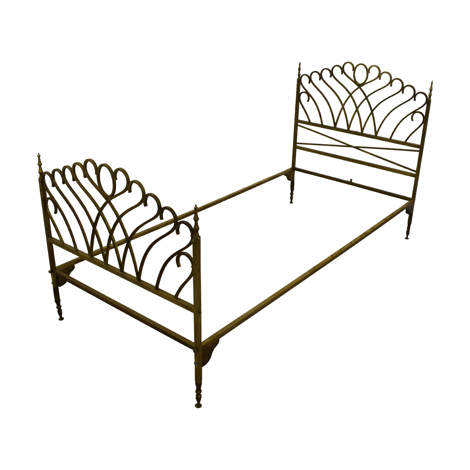 Scrolled Brass Twin Bed Frame for sale