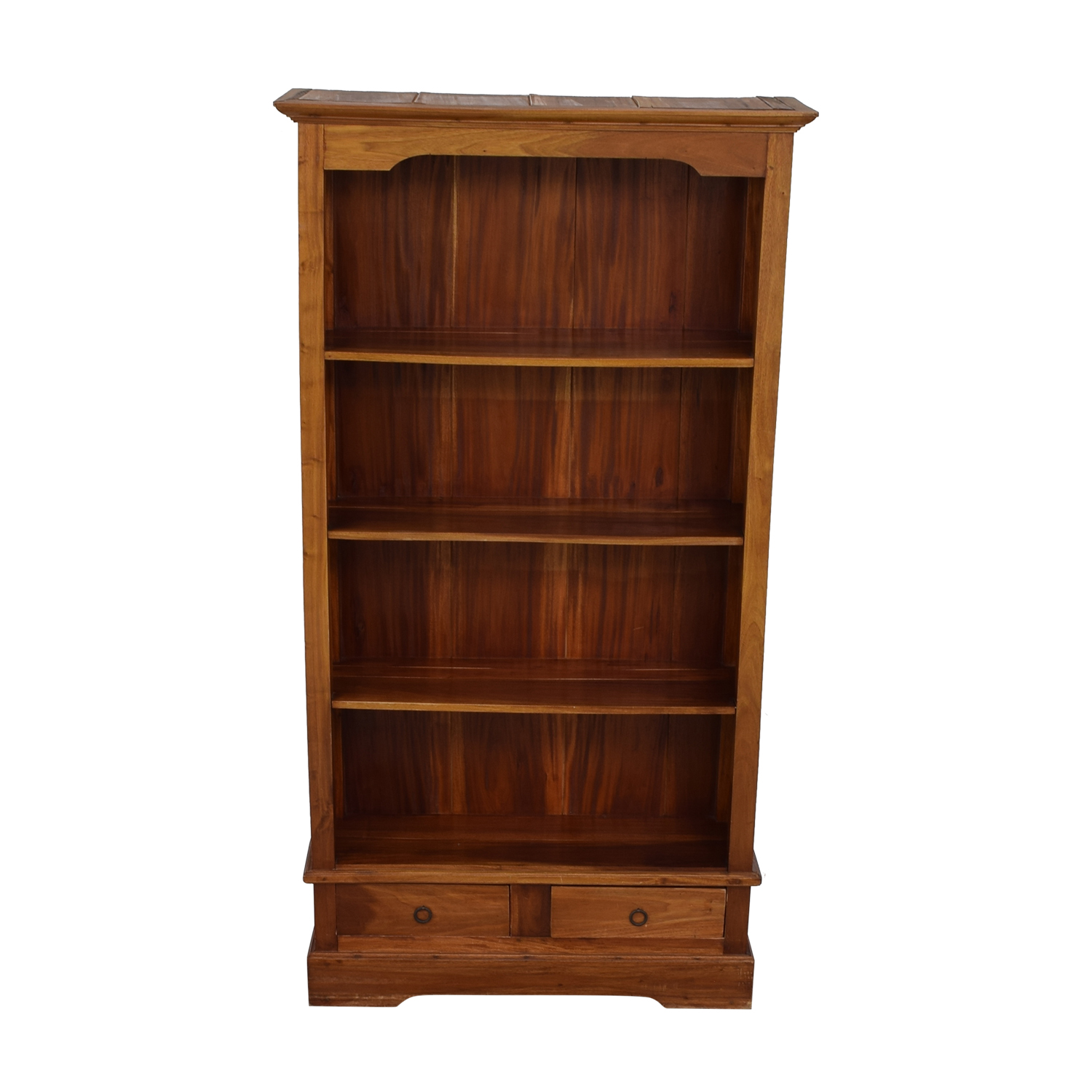 Tall Wood Bookcase with Two Drawers nj