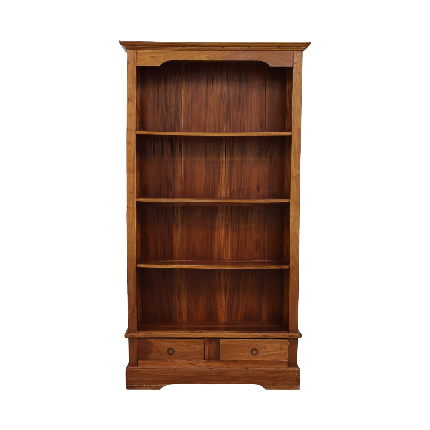 Tall Wood Bookcase with Two Drawers / Storage