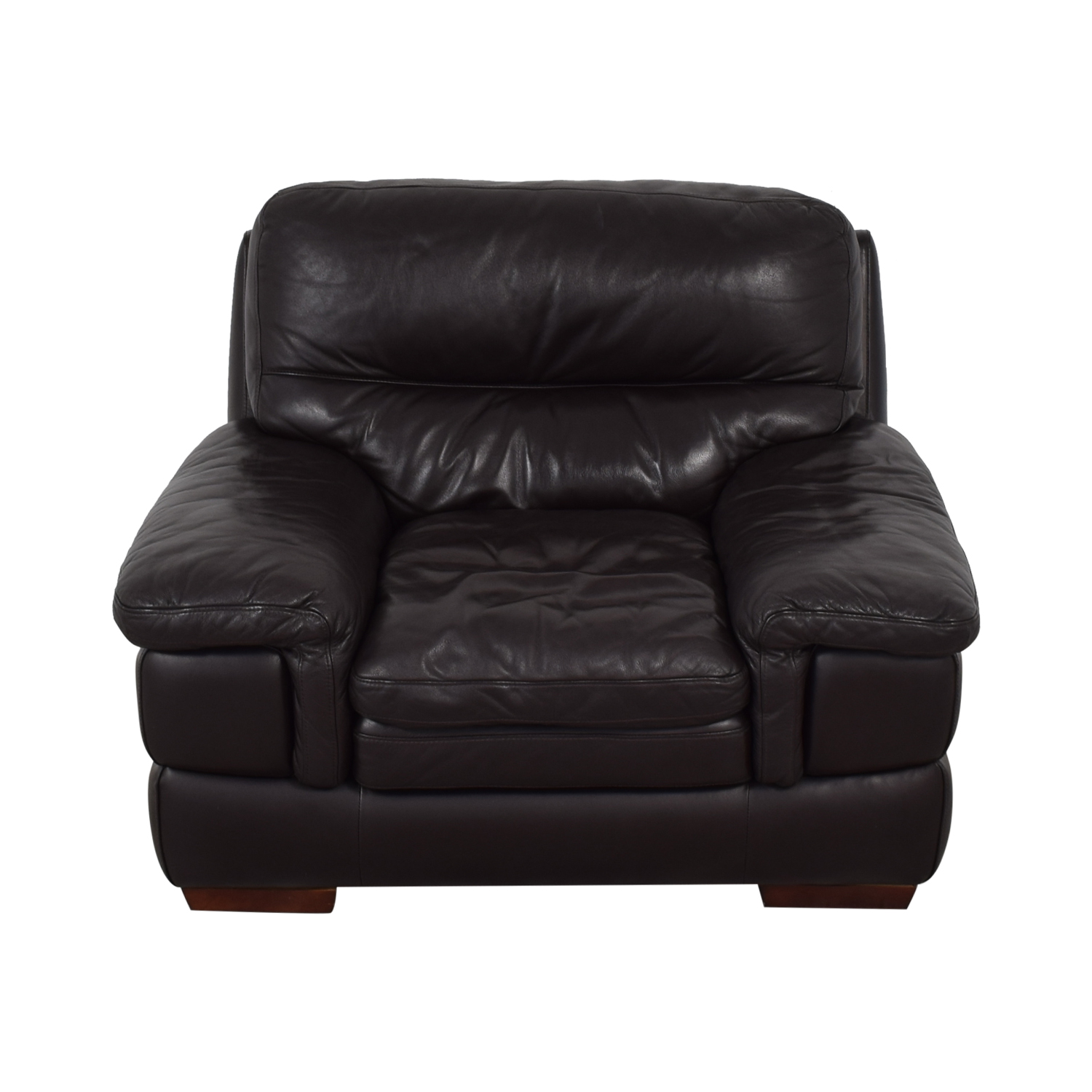 Bob's Discount Furniture Bob's Discount Furniture Brown Leather Accent Chair second hand