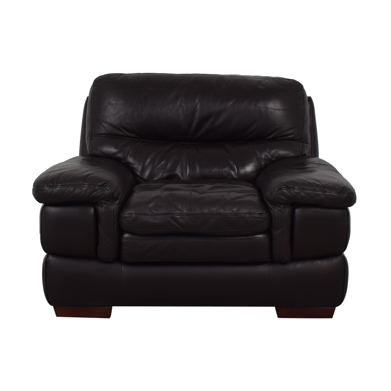 Bob's Discount Furniture Bob's Discount Furniture Brown Leather Accent Chair for sale