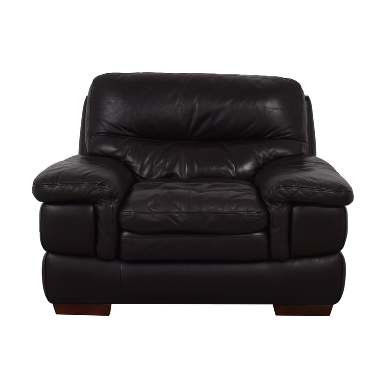 Bob's Discount Furniture Brown Leather Accent Chair sale