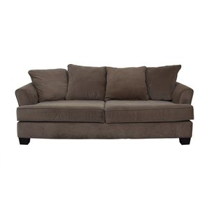 Raymour & Flanigan Raymour & Flanigan Chenille Gray Two-Cushion Couch on sale