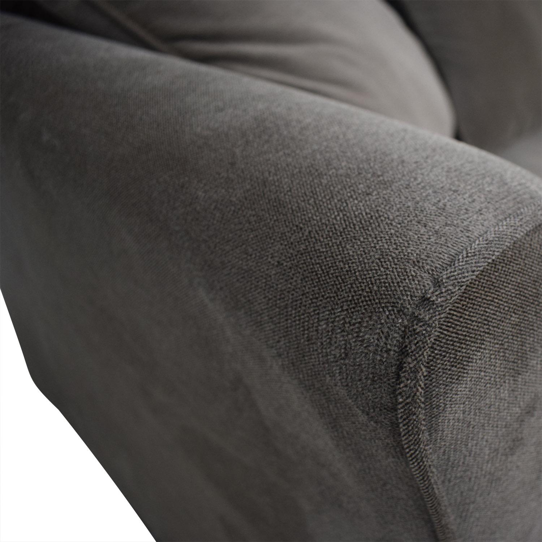shop Raymour & Flanigan Chenille Gray Two-Cushion Coach Raymour & Flanigan