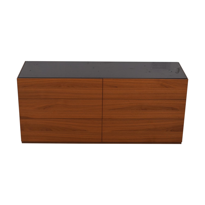 buy Calligaris City Walnut Finish Six-Drawer Dresser Calligaris Sofas