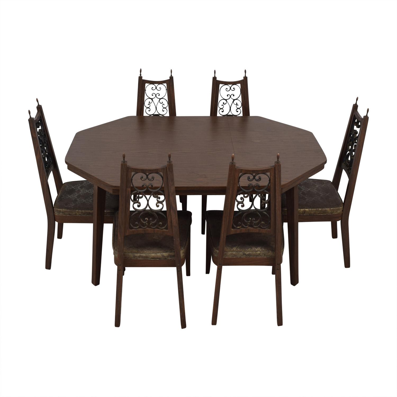 Octagon Extendable Leaf Dining Set used