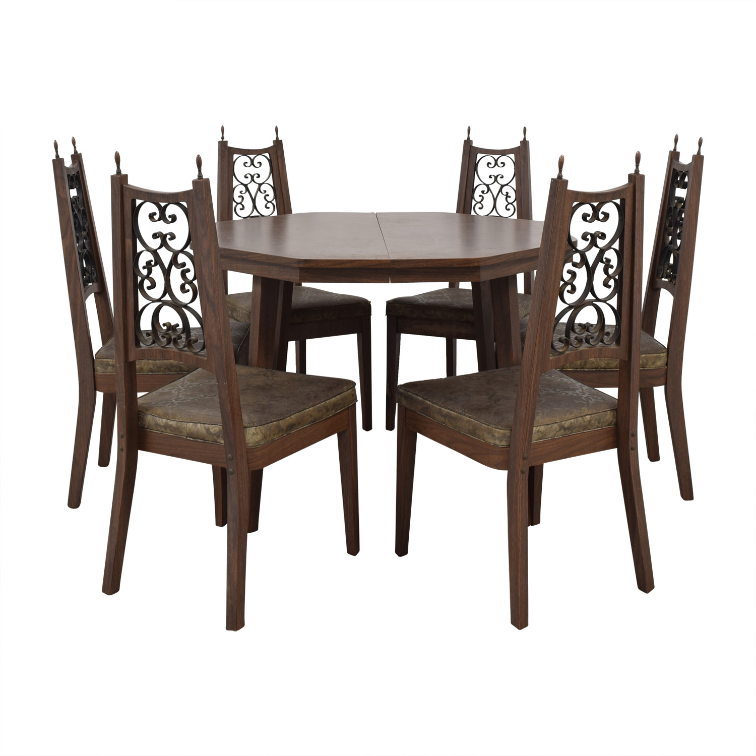 Octagon Extendable Leaf Dining Set / Sofas