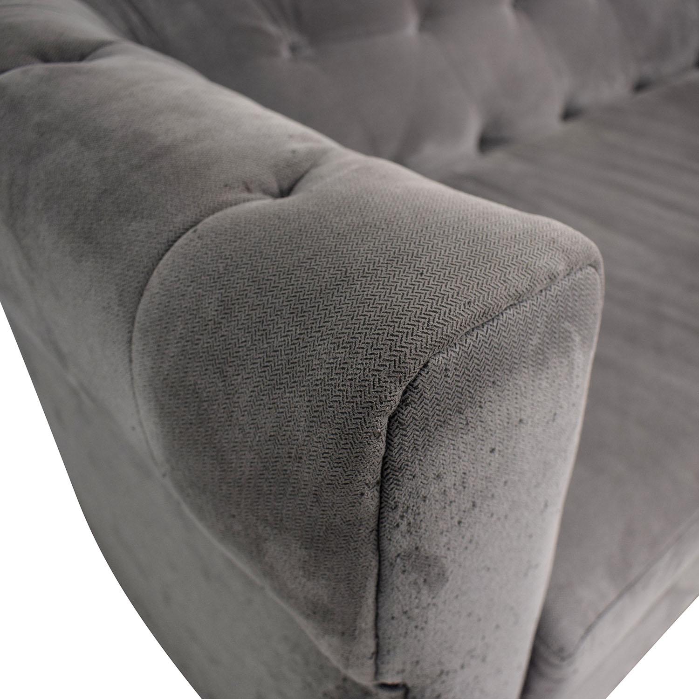 West Elm West Elm Chester Tufted Grey Single Cushion Sofa nj