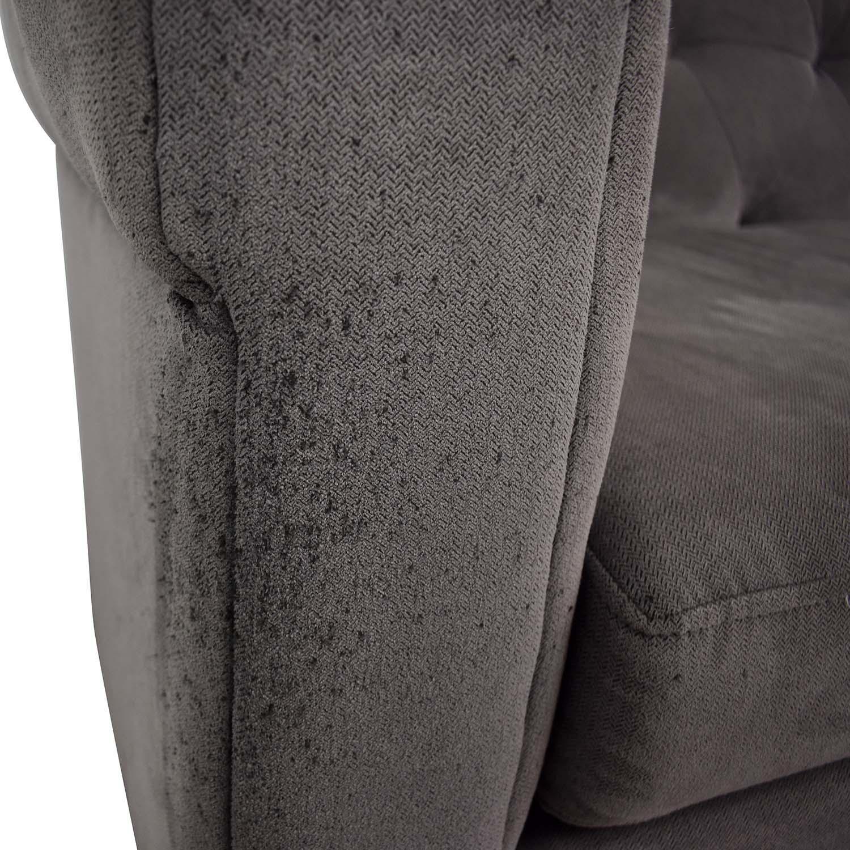 West Elm West Elm Chester Tufted Grey Single Cushion Sofa dimensions