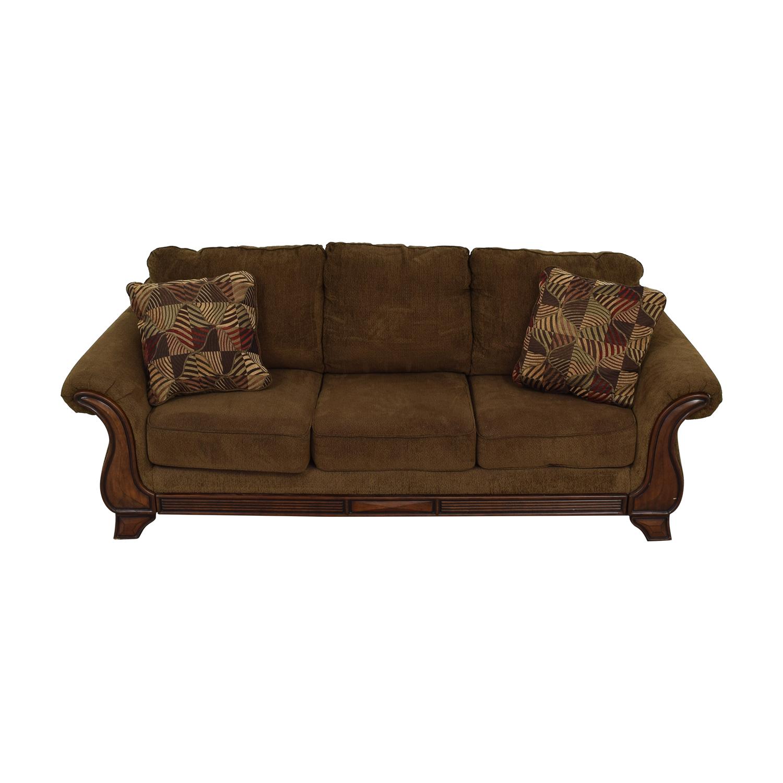 Jennifer Convertible Jennifer Convertible Montgomery Brown Three-Cushion Sofa second hand