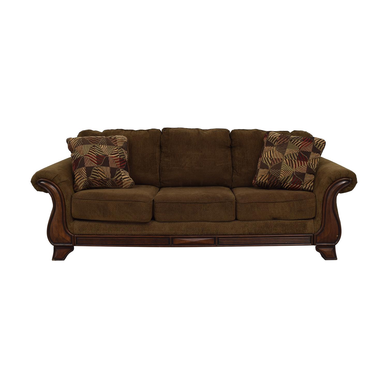 Jennifer Convertible Jennifer Convertible Montgomery Brown Three-Cushion Sofa dimensions