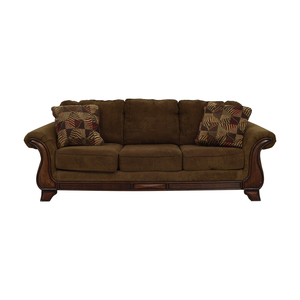 buy Jennifer Furniture Jennifer Convertible Montgomery Brown Three Cushion Sofa online