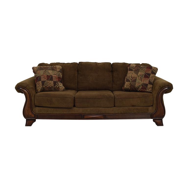 Jennifer Convertible Jennifer Convertible Montgomery Brown Three Cushion Sofa on sale
