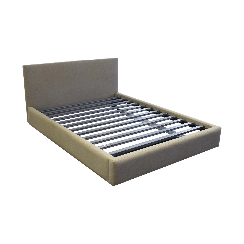 buy Room & Board Grey Upholstered Queen Platform Bed Frame Room & Board Beds