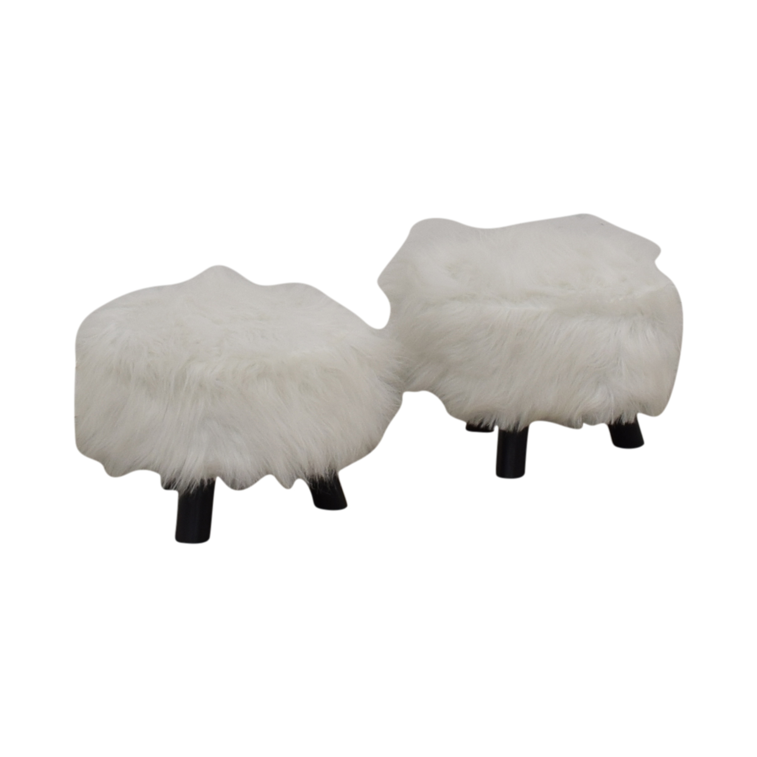 Small Fur Footstools white and black