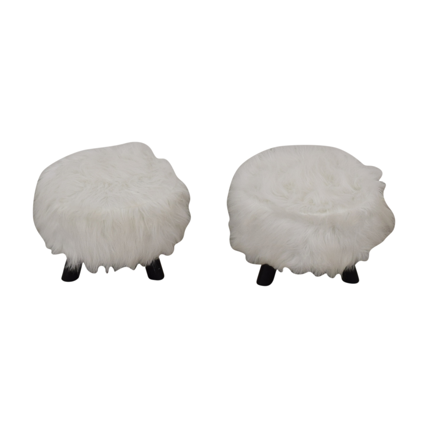Small Fur Footstools / Sofas