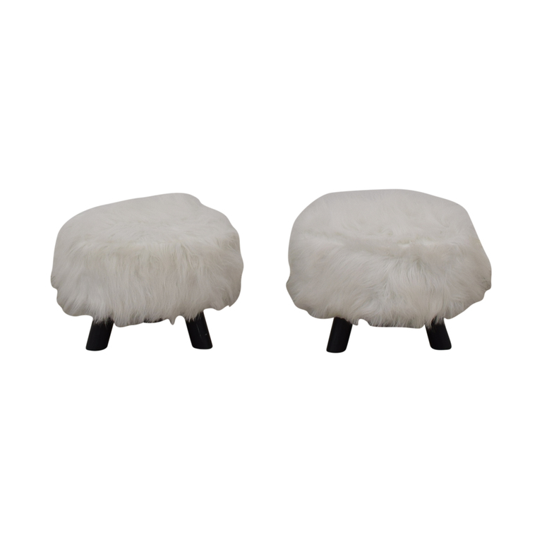 Small Fur Footstools Chairs