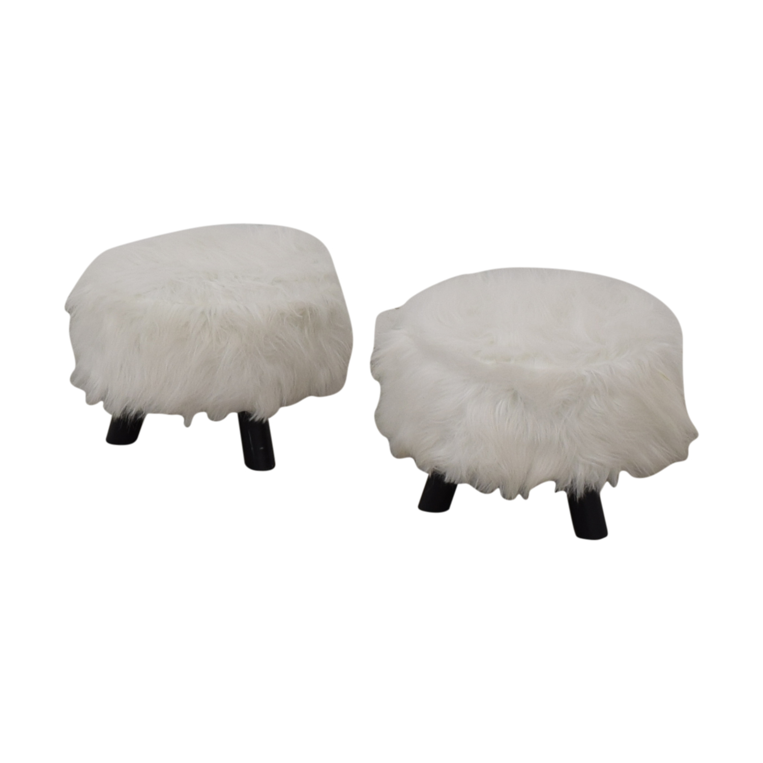 Small Fur Footstools second hand