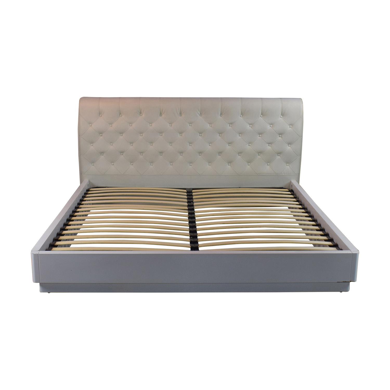 shop Ashley Furniture Ashley Furniture White Tufted King Bed Frame online