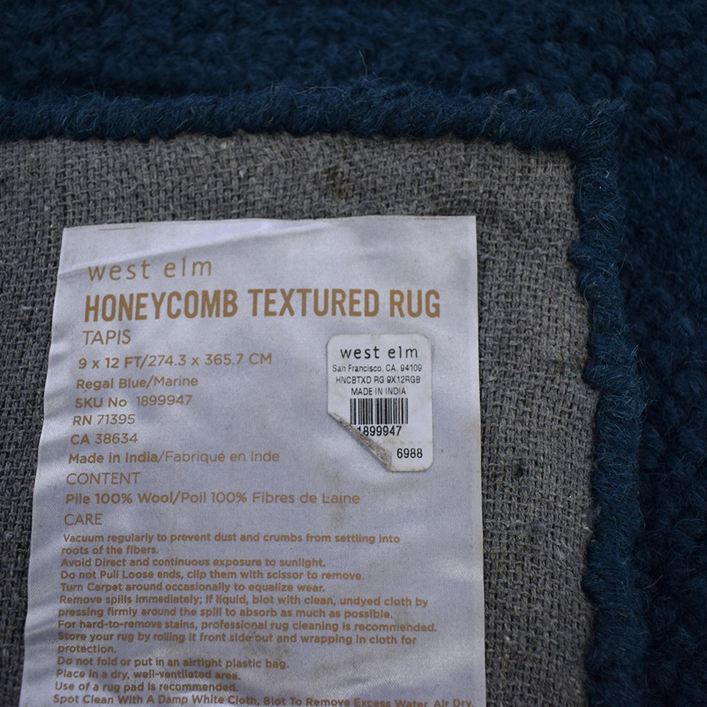 West Elm West Elm Honeycomb Textured Green Wool Rug discount