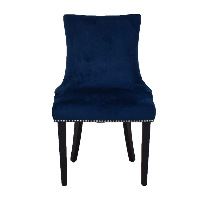 Safavieh Safavieh Blue Nailhead Velvet Accent Chair for sale