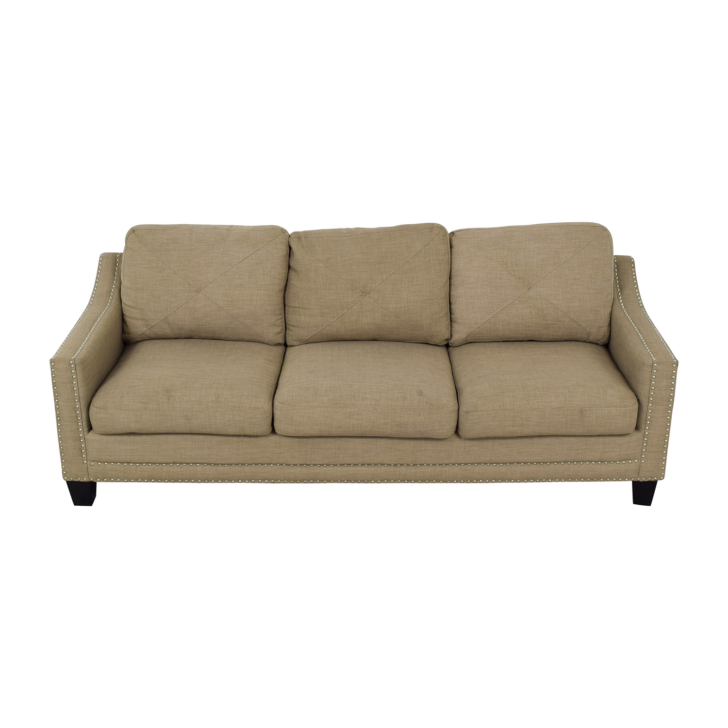 Bob's Discount Furniture Bob's Discount Furniture Three Seater Sofa With Chrome Nailhead Embellishment on sale