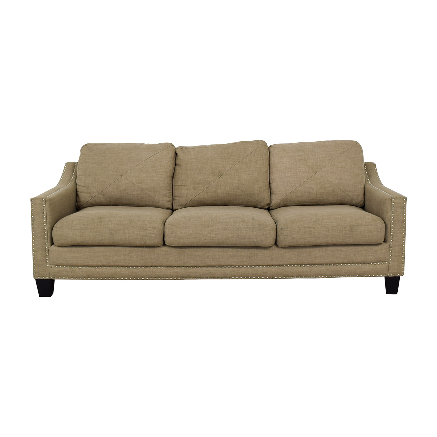 shop Bob's Discount Furniture Three Seater Sofa With Chrome Nailhead Embellishment Bob's Discount Furniture