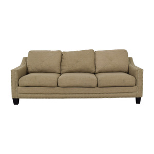 buy Bob's Discount Furniture Three Seater Sofa With Chrome Nailhead Embellishment Bob's Discount Furniture