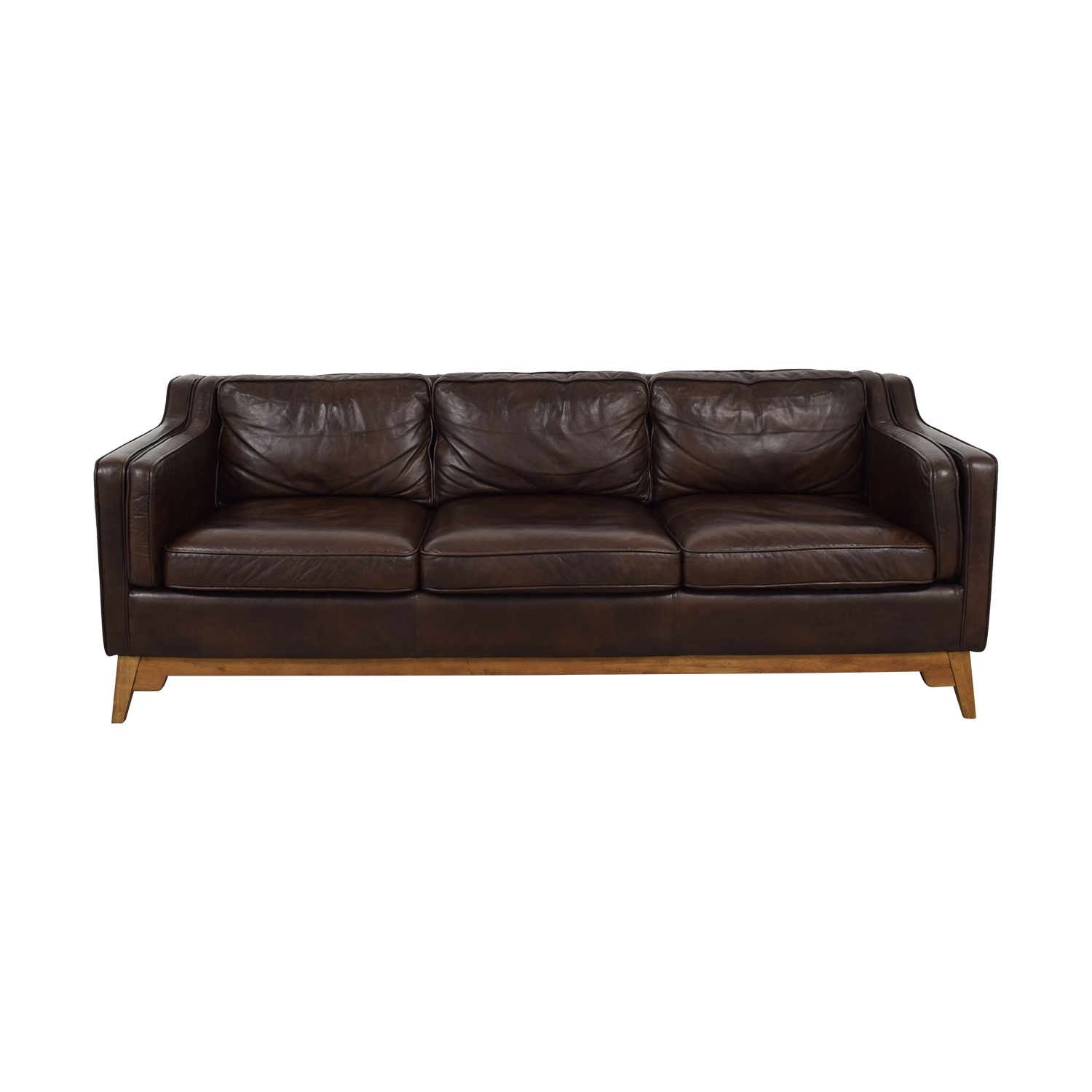Article Article Worthington Oxford Brown Three-Cushion Sofa coupon