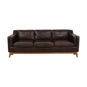 Article Article Worthington Oxford Brown Three-Cushion Sofa on sale