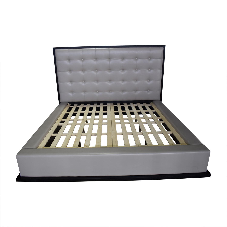 Modloft Modloft Ludlow Grey Tufted Platform King Bed Frame second hand