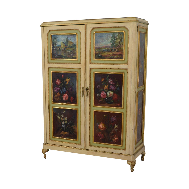 ABC Carpet & Home ABC Carpet & Home Floral Painted Armoire for sale