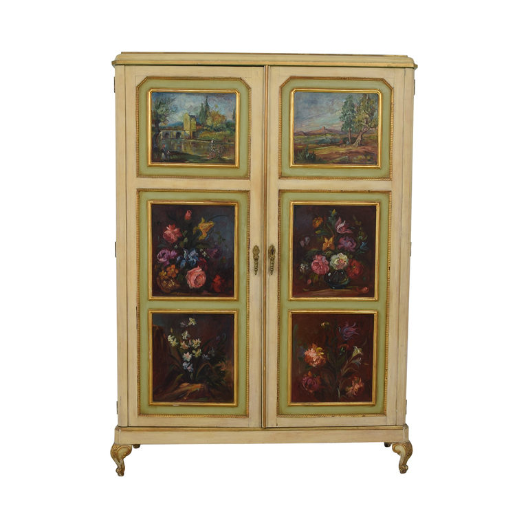 ABC Carpet & Home ABC Carpet & Home Floral Painted Armoire second hand