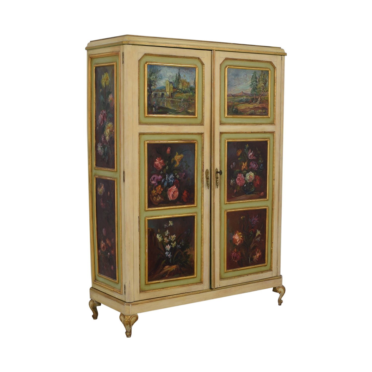 ABC Carpet & Home Floral Painted Armoire / Wardrobes & Armoires