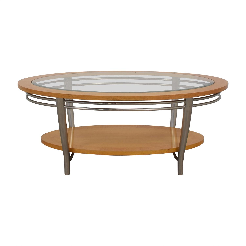 Oval Wood Coffee Table With Storage: Bernhardt Bernhardt Wooden Oval Coffee Table