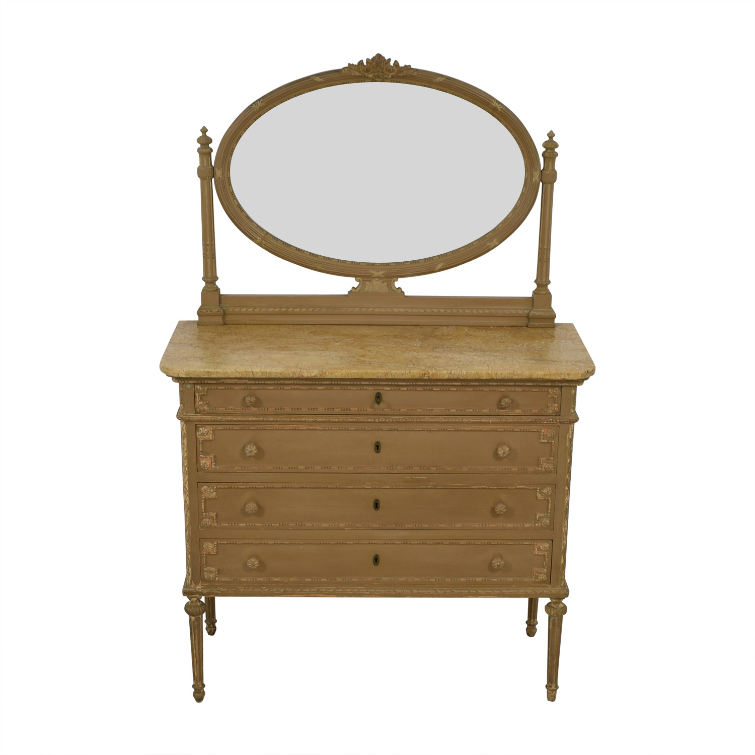 ABC Carpet & Home ABC Carpet & Home Antique Four-Drawer Dresser with Mirror nyc