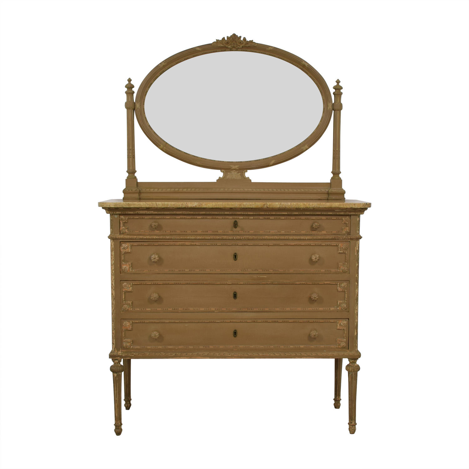 ABC Carpet & Home ABC Carpet & Home Antique Four-Drawer Dresser with Mirror dimensions