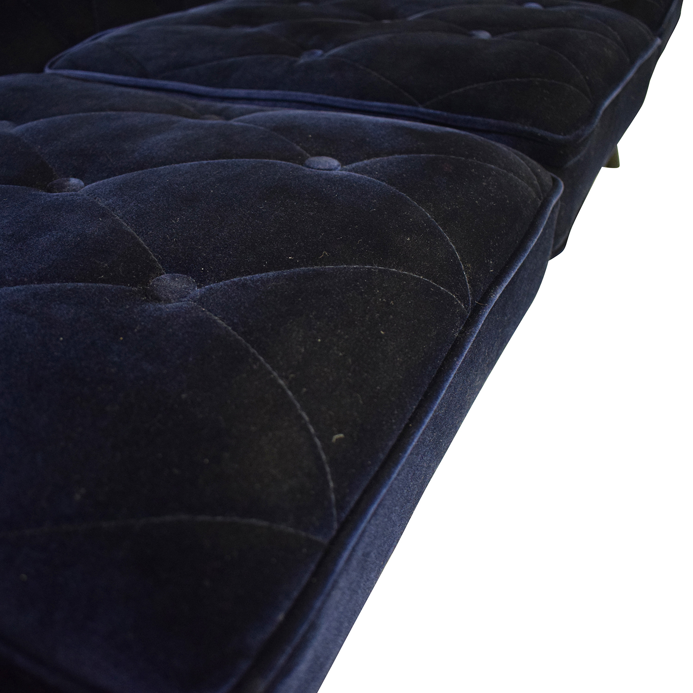 Overstock.com Overstock.com Bowery Navy Velvet Sofa blue