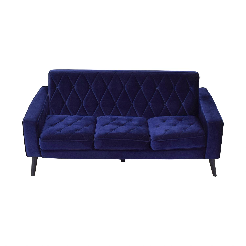 Overstock.com Bowery Navy Velvet Sofa / Sofas