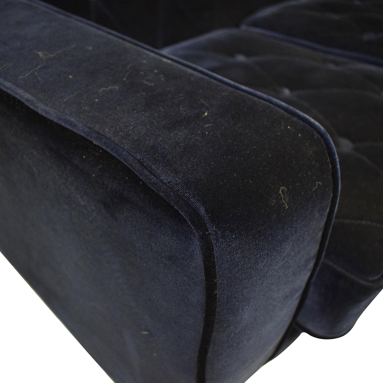 Overstock.com Overstock.com Bowery Navy Velvet Sofa Sofas