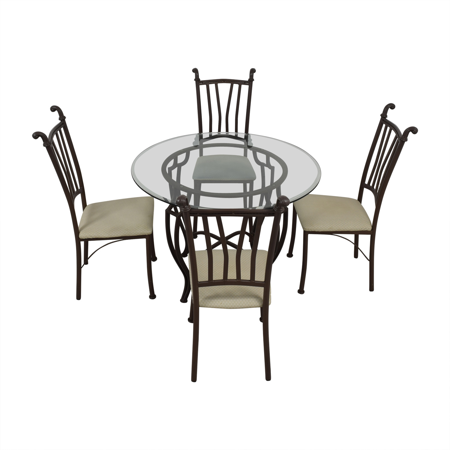Round Glass Dining Set used