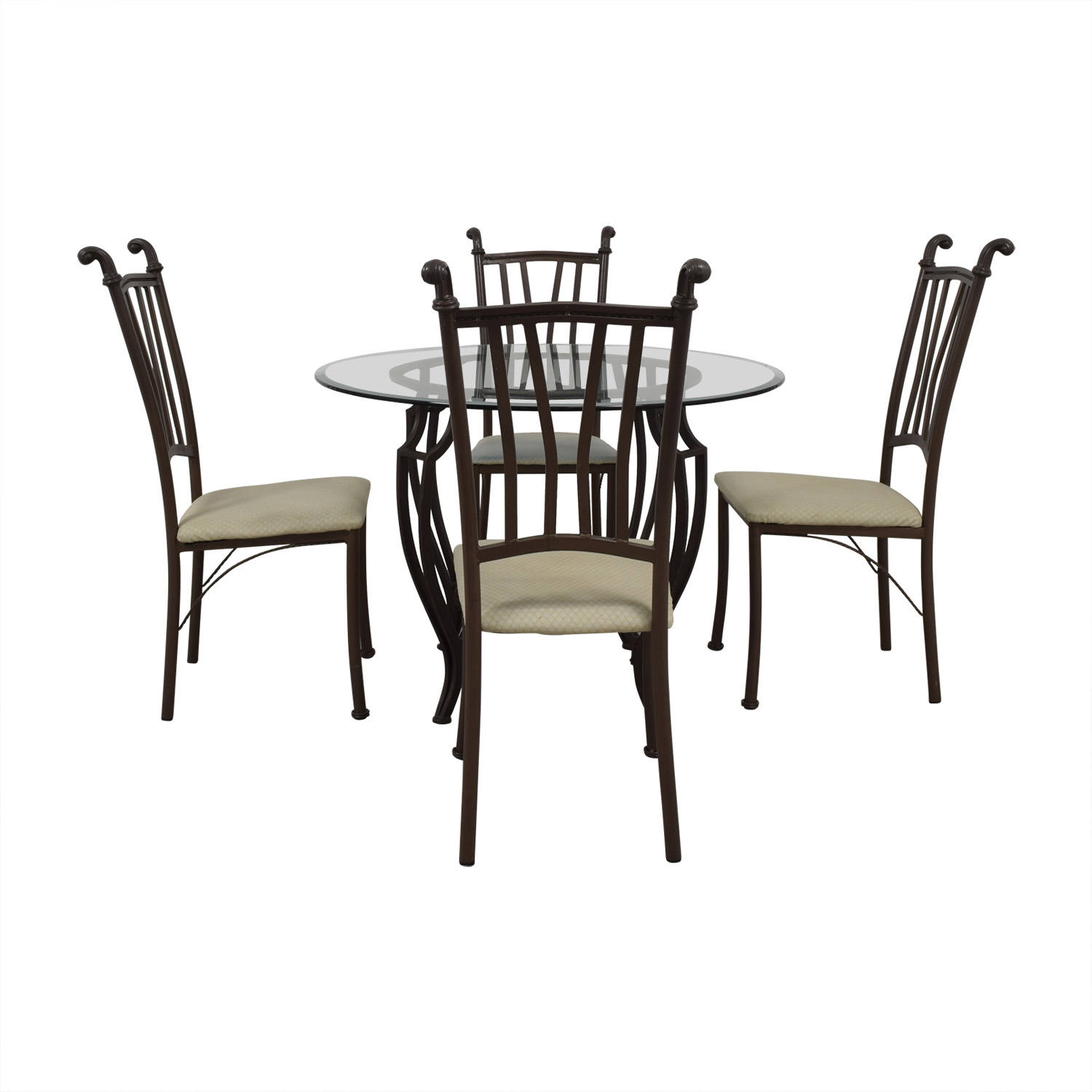 Round Glass Dining Set second hand