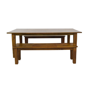 shop Crate & Barrel Wood Table with Two Benches Crate & Barrel Tables
