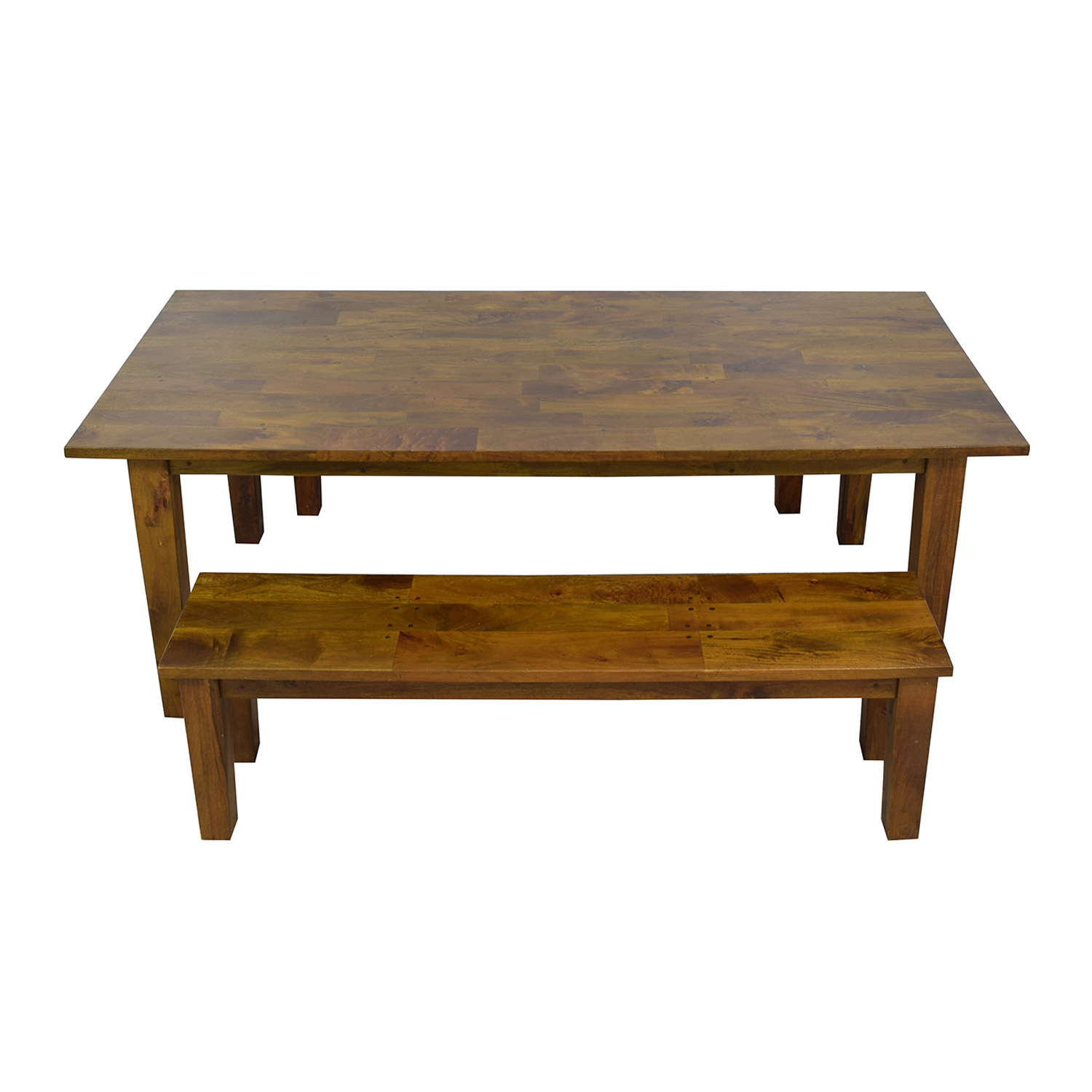 Crate & Barrel Crate & Barrel Wood Table with Two Benches brown
