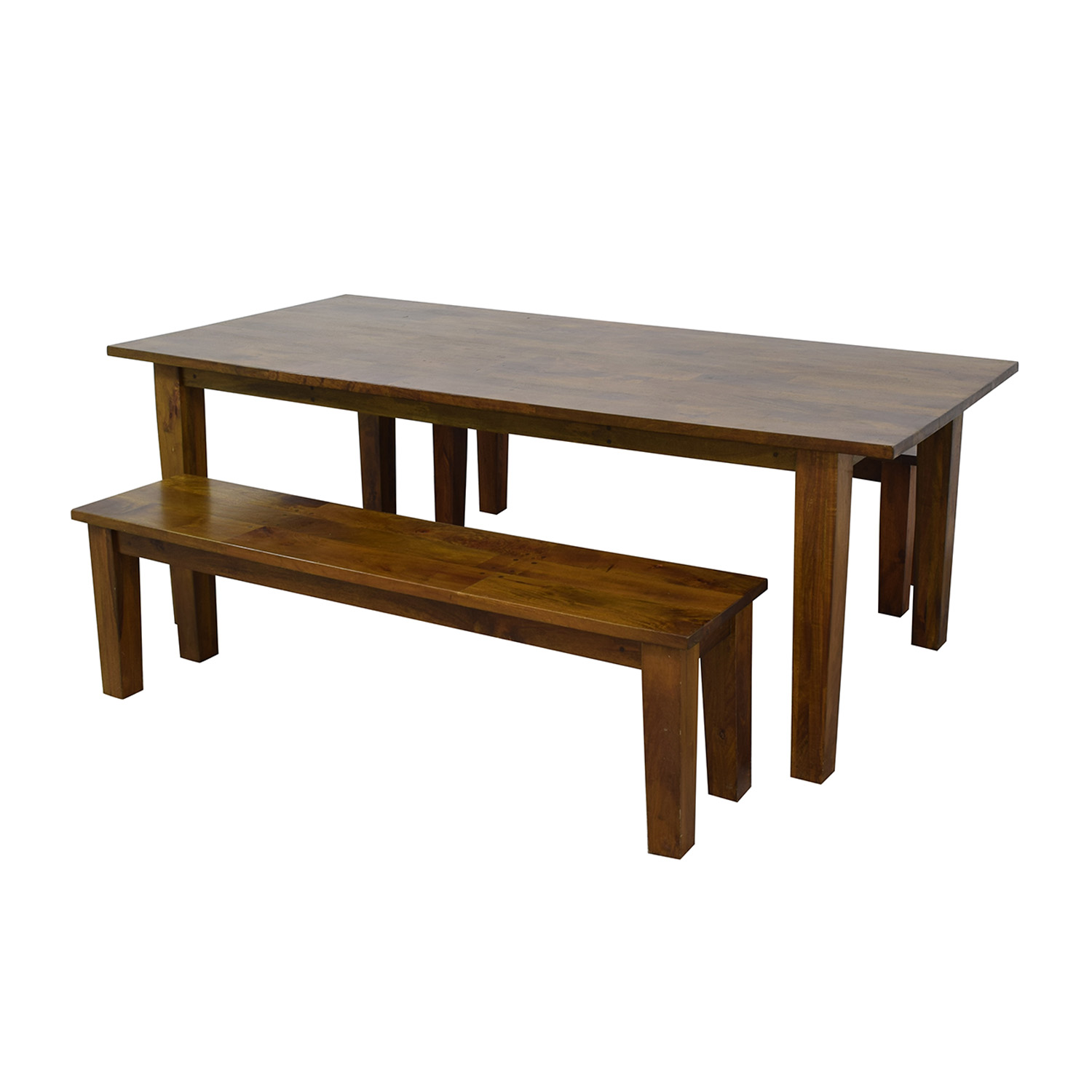buy Crate & Barrel Wood Table with Two Benches Crate & Barrel Dining Sets